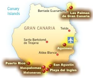 Harta pozitie hoteluri gran canaria Spania