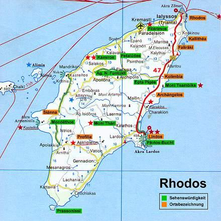 Harta Pozitie Hoteluri Insula Rhodos Grecia